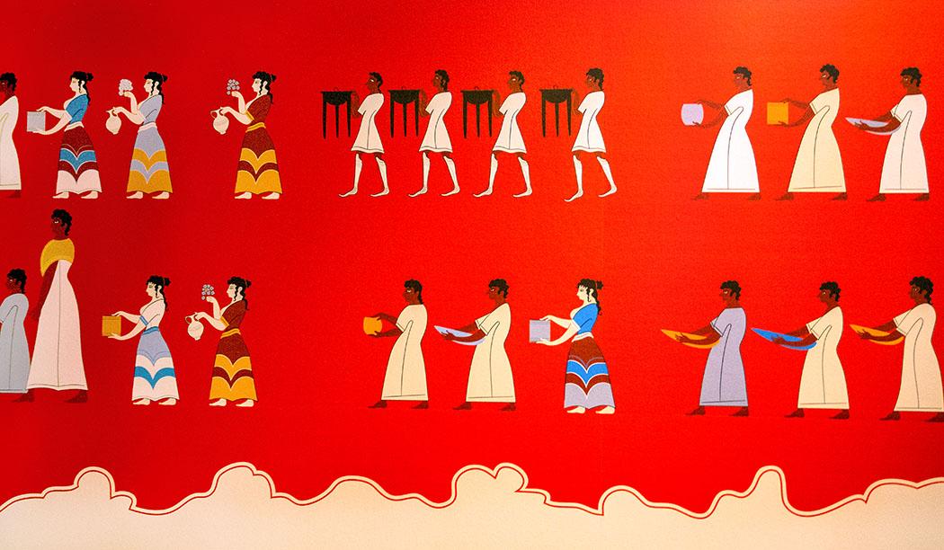 Die Fresken im rekonstruierten Thronsaal erzählen vielfältige Geschichten. Im Palast von Pylos wurde ein religiöses Fest mit Prozession, Opfergaben und Trinkgelage abgebildet. reise-zikaden.de, deutschland, baden-wuerttemberg, karlsruhe, schloss, badisches landesmuseum, mykene ausstellung, thronsaal, fresken, ausschnitt, prozession