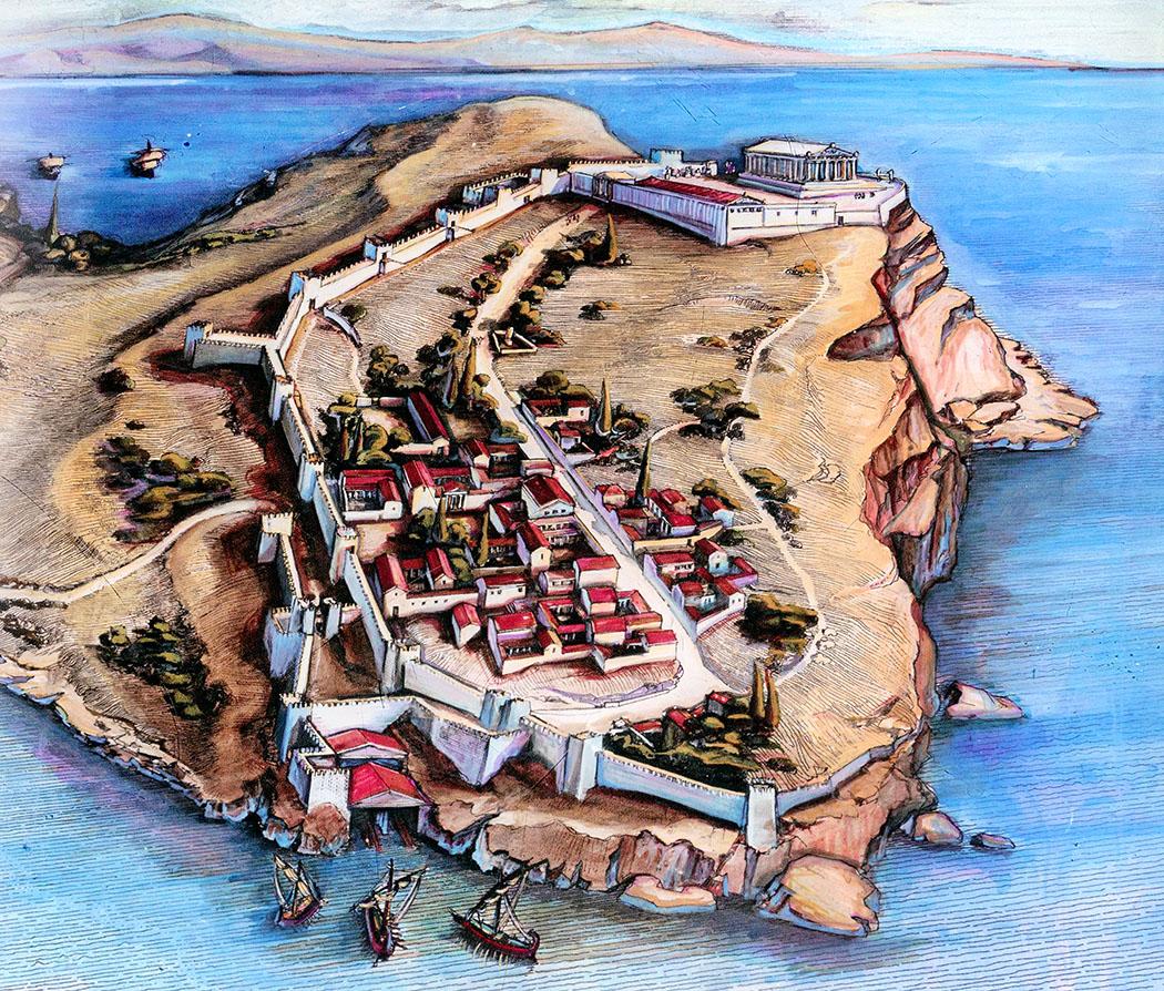 Die Rekonstruktionszeichnung zeigt das Poseidon-Heiligtum, die Siedlung und das Schiffshaus von Sounion.