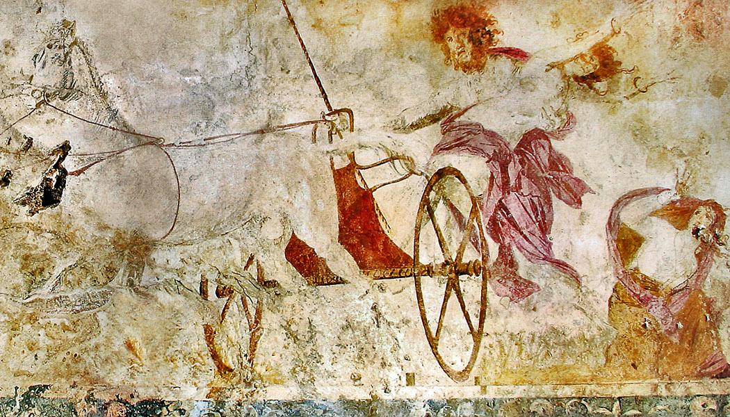 Hades_abducting_Persephone-ol Das Fresko zeigt den Raub der Persephone durch Hades. Ihre Mutter Demeter sieht machtlos der Entführung zu. Das Kunstwerk datiert auf das 4. Jhd. v. Chr. und stammt aus den Makedonischen Königsgräbern in Vergina. Foto: Wikipedia, Yann Forget