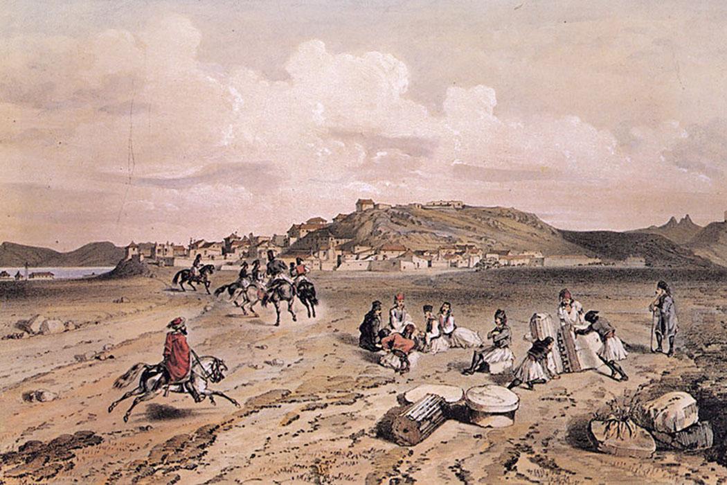 Eleusis_-_Du_Moncel_Théodore_-_1843_ol An der Heiligen Straße nach Eleusis. Der französische Maler Théodore du Moncel war 1843/44 auf einer Reise durch Griechenland, es entstanden Skizzen archäologischer Stätten und Orte. Später veröffentlichte er einen Bildband mit Lithografien seiner Motive.