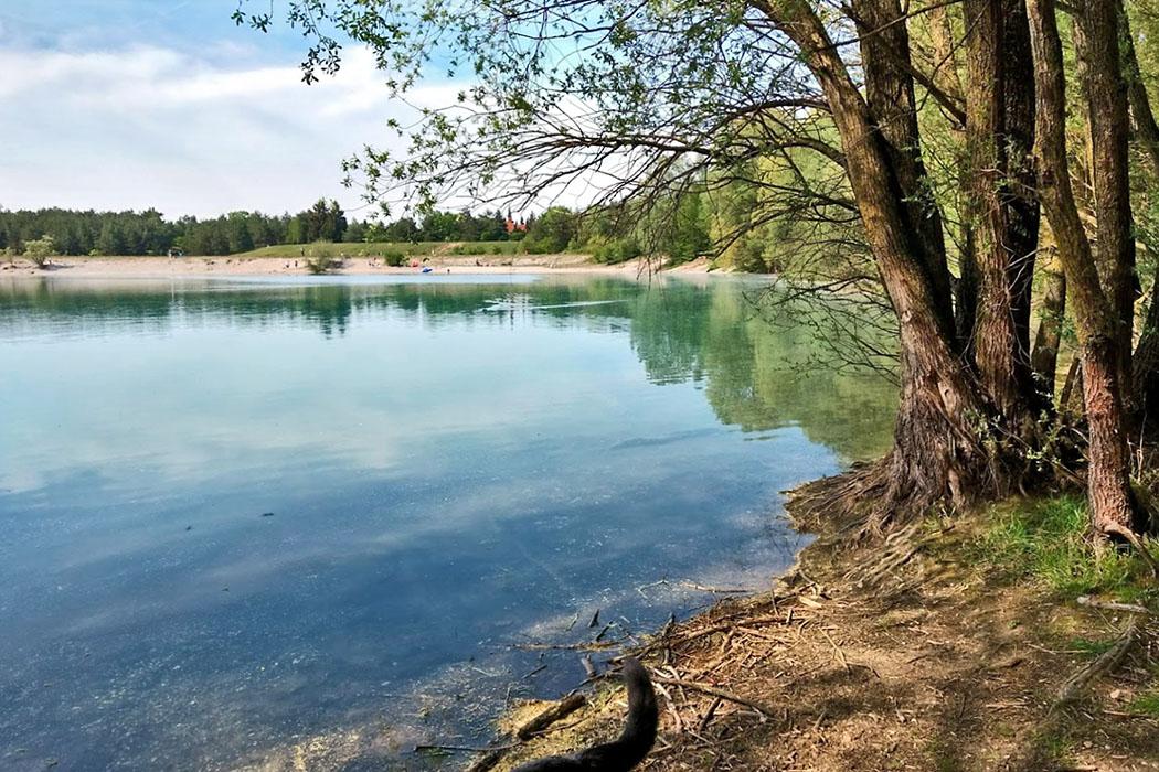 Mallershofer See Für eine Abkühlung nach einer Runde durch die Heidelandschaft ist der Mallertshofer See perfekt. Ein Vergnügen für die ganze Familie und auch die Hunde dürfen am See baden und spielen. Foto: Reise-Zikaden, M. Hoffmann