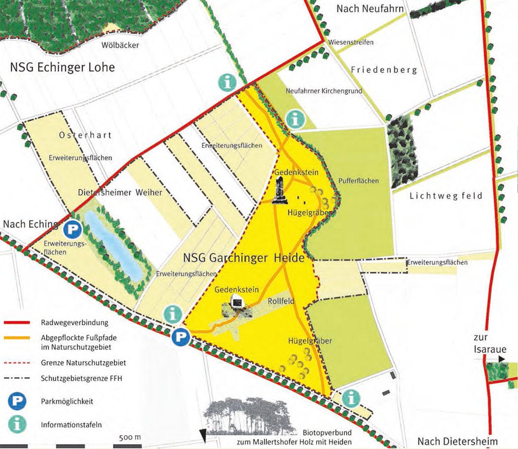 """karte_garchinger_heide_eching_freising_muenchen-ol Quelle/Karte: Flyer """"Naturschutzgebiet Garchinger Heide - Ein einzigartiges Heiderelikt"""""""