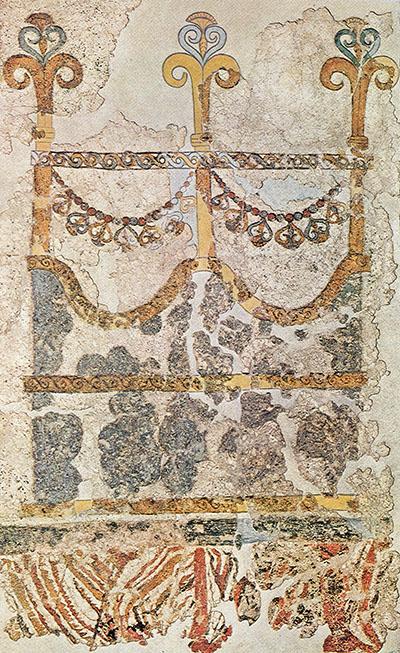 Akrotiri_Westhaus_Fresko_Kapitänskajüte_ol Kapitänskajüte (Ikrion) auf einem Spätminoischen Fresko in Raum 4 im Obergeschoss des Westhauses in Akrotiri auf Santorin. Foto: Wikipedia