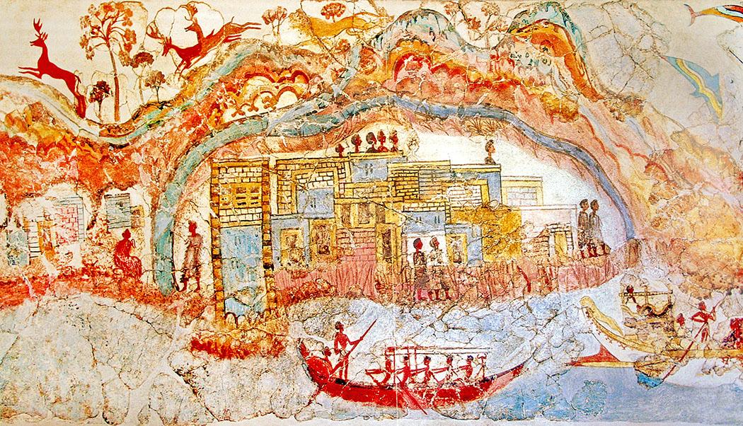 """Ship_procession_fresco_Akrotiri_Yann Vergiss Das Fresko aus der minoischen Hafenstadt Akrotiri von der Insel Santorin wird meist """"Schiffsfresko von Akrotiri"""" genannt und datiert in den Zeitraum 1.650 bis 1.500 v. Chr. Es befand sich einst im Obergeschoss eines Hauses (Westhaus). Der Luftabschluss nach den Vulkanausbruch hat es gut erhalten. Foto: Wikipedia, Yann Vergiss"""