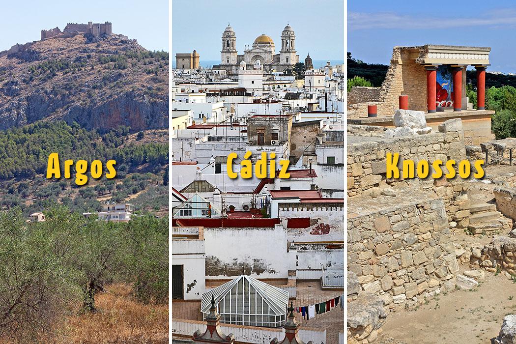 argo_cadiz_knossos_oldest_city_europe_text Welche Stadt ist die älteste von Europa: Argos (Griechenland, Peloponnes), Cadiz (Spanien, Andalusien) oder Knossos (Griechenland, Kreta)? Fotos - Argos und Knossos: Reise-Zikaden, M. Hoffmann. Cadiz: Wikipedia, Pepelu4.