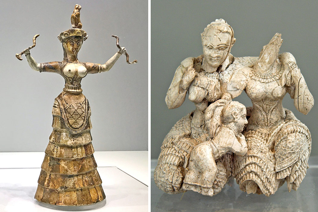 Bronzezeit auf Kreta: DNA-Studien enthüllen die Herkunft der Minoer kombi_göttinnen minoer_mykener Die minoische Schlangengöttin stammt aus Knossos auf Kreta. Sie zeigt eine barbusige Erdgöttin (Rhea) mit zwei Schlangen in den erhobenen Händen. Datierung: 17 Jhd. v. Chr. Ausstellungsort: Arch. Museum Heraklion. Aus mykenischer Zeit stammt die Figurengruppe aus Elfenbein aus Burg von Mykene auf dem Peloponnes. Abgebildet sind zwei Göttinnen mit Kleinkind. Datierung: 14./15. Jhd. v. Chr. Ausstellungsort: Arch. Nationalmuseum Athen. Fotos: Pixabay, HeikoAL (links), Wikipedia, zde