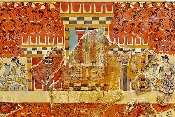 Knossos_Fresko_Dreigliedriger_Schrein_03 Das minoische Fresko stammt aus Knossos und stammt aus einer dreigliedrigen Kapelle mit Kulthörnern. Datierung: 1.600 - 1.450 v. Chr. Ausstellungsort: Archäologischen Museum Iraklion. Foto: Wikipedia, Olaf Tausch