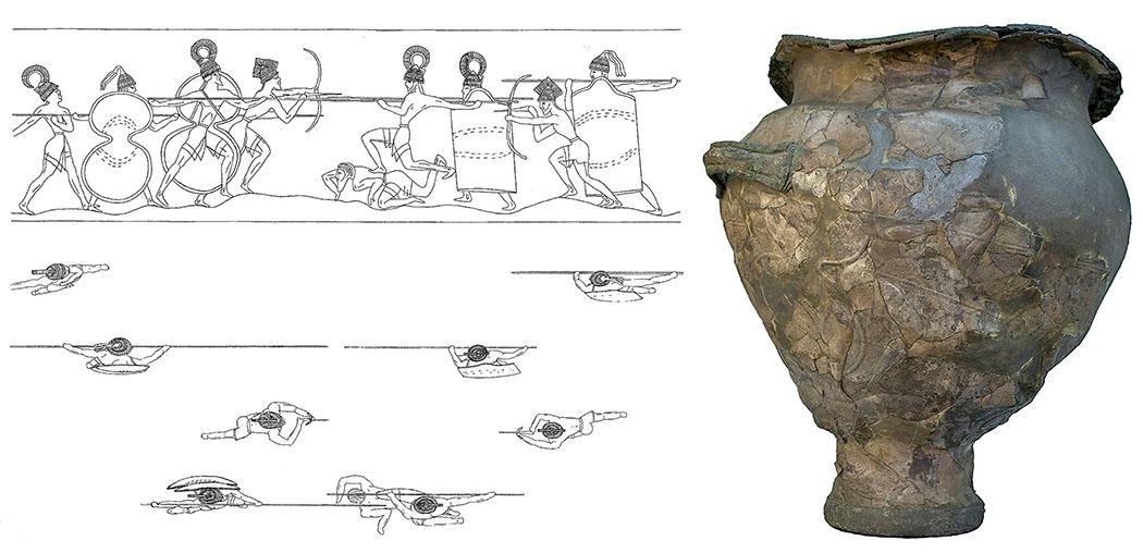 """Bronzezeit auf Kreta: Krieger-Ideologien und Waffen der Minoer Silver Battle Krater Mycenae, kombi Der Kampfkrater aus Silber (bekannt als """"Silver Battle Krater) ist ein Meisterwerk der minoisch-mykenischen Metallverarbeitung. Das Kunstwerk zeigt den Kampf zweier rivalisierender Hoplitengruppen um einen auf den Boden gefallenen Hopliten. Der Krater wurde 1876 in Schachtgrab IV während Heinrich Schliemanns Ausgrabungen in Mykene gefunden. Heute befindet es sich im Archiv des Archäologischen Nationalmuseums in Athen. Fotos: Wikipedia"""