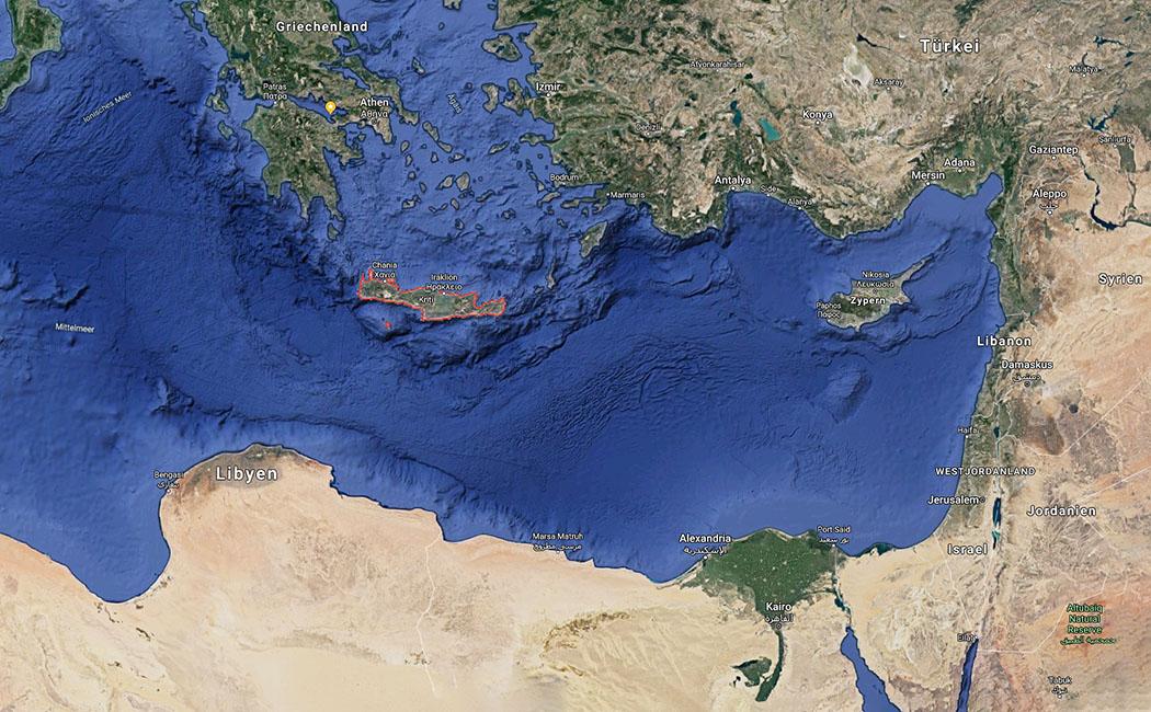 map_aegean_greece_crete_libyia_egypt-ol Die Karte vom südlichen Mittelmeer zeigt die strategisch ausgezeichnete Lage der Insel Kreta in die Ägäis, nach Kleinasien, Zypern, Libyen, Ägypten und dem Orient. Foto: Google Maps