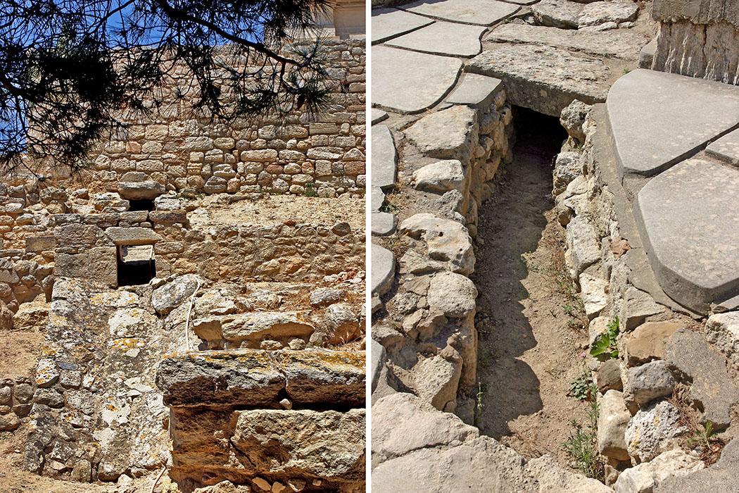 Bronzezeit auf Kreta: Die Paläste der Minoer waren Basis ihrer Städte reise-zikaden.de, griechenland, kreta, knossos, minoer, wasserabfluss, drainage, ostflügel Der Palast von Knossos verfügte über ein gut organisiertes Wassersystem, um sauberes Wasser zu verteilen und Abwasser abzuführten. Regenwasserkanäle schützten vor Überflutungen. Die abgebildeten Kanäle haben wir im Drainagesystem des Ostflügels von Knossos entdeckt. Foto: Reise-Zikaden, M. Hoffmann
