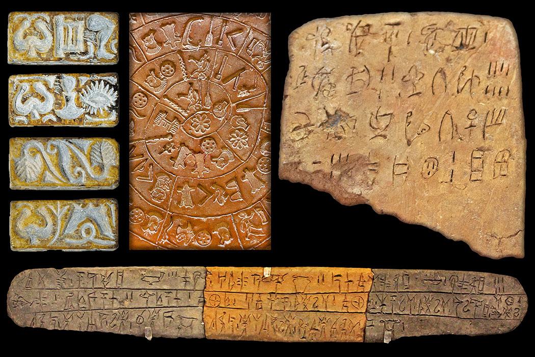 Bronzezeit auf Kreta: Europas älteste Schrift entwickelten Minoer_titel-ol Die Abbildungen zeigen die Entwicklungen der minoisch-kretischen Schriftsysteme in einem Zeitraum von rund tausend Jahren. Vierseitiges Prisma mit minoisch-kretischen Hieroglpyhen, Malia (ganz links). Diskos von Phaistos mit minoisch-kretischen Hieroglpyhen oder Linear A-Variante , Phaistos (zweites von links). Tontafeln mit Linear A-Schrift, Zakros (rechts). Tontafel mit Linear B-Schrift, Pylos (unten). Fotos: researchgate.net, Georgia Flouda. Wikipedia, Aserakov. Reise-Zikaden, M. Hoffmann (2).