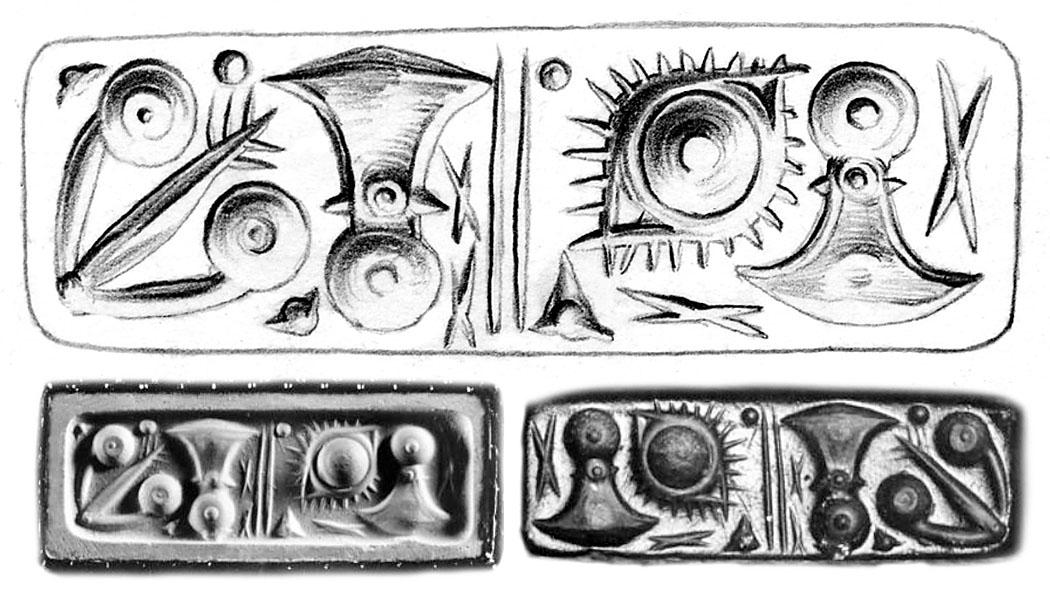 Bronzezeit auf Kreta: Europas älteste Schrift entwickelten Minoer Siegel CMS VI 100c_kretische hieroglyphen_kombi Der Siegelstein aus grünem Jaspis mit vierseitigem Prisma wurde bei Heraklion in Zentralkreta gefunden. Das Fundstück wurde mit kretischen Hieroglyphen beschriftet. Datierung: Mittelminoikum, MM II. CMS-Nummer VI 100c. Ausstellungsort: Ashmolean Museum, Oxford. Quelle: arachne.uni-koeln.de