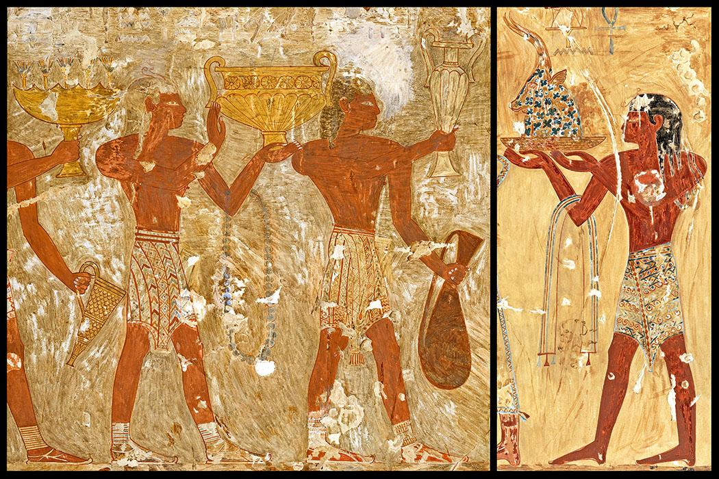 keftiu_egypt_kombi_ol Die ägyptischen Fresken (links) zeigen eine Szene aus dem Grab von Rekhmire (TT 100) in Theben. Kreter bringen verschiedene Metallgefäße. Händler aus Kreta mit Rython und Stoff im Grab von Menkheperraseneb (TT 86). Datierungen: 1.479 - 1.425 v. Chr., 18. Dynastie. Regierungszeit von Thutmosis III. bis Amenhotep II. Zeichnungen: Nina de Garis Davies. Fotos: Faksimilesammlung, Metropolitan Museum of Art, New York.