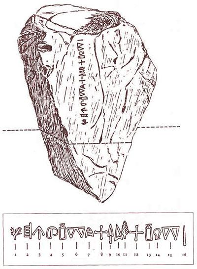 malia altar stone_cretan hieroglyphs_tei Der Altarstein wurde in der Umgebung des Palastes von Malia an der Nordküste von Zentralkreta gefunden. Die Inschrift besteht aus sechszehn Zeichen mit kretischen Hieroglyphen und ist der einzige Textfund auf Stein. Datierung: um 1.700 v. Chr. Foto: www.teicrete.gr