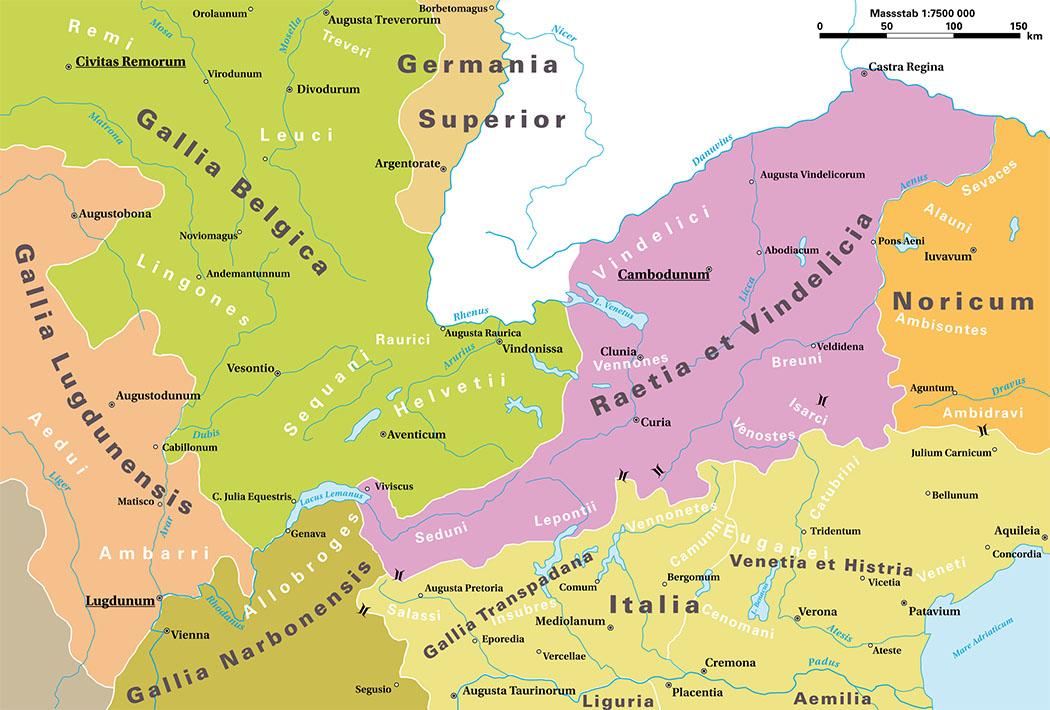 Römische_Provinzen_im_Alpenraum Die Karte zeigt römischen Provinzen im Alpenraum Mitte des 1. Jhds. n. Chr. Farblich pink markiert ist die Provinz Raetia et Vindelicia. Foto: Wikipedia, Marco Zanoli