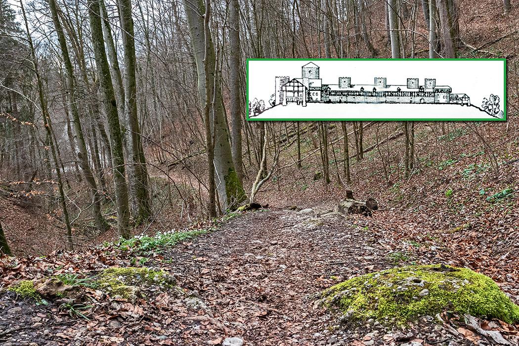 reise-zikaden.de, Kelten in Bayern, Leutstetten im Mühltal, Hügelgräber, Drei Bethen Quelle und Karlsburg - 03Die Karlsburg war eine Höhenburg über dem Würmtal bei Leutstetten. Heute sind der Aufgang zur Burg und Reste der Tore in der Vorburg erhalten. Schon in der Bronze- und Hallstattzeit lag dort eine Siedlung. Auf dem gegenüberliegenden Ufer der Würm liegen Hügelgräber aus dieser Zeit. Foto: Reise-Zikaden, M. Hoffmann