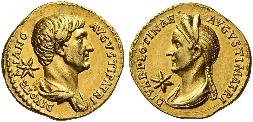 Aureus Trajan Plotina Römische Goldmünzen wurden Aureus genannt. Vorderseite: Trajan, DIVO TR - A - IANO - AVGVSTI PATRI. Rückseite: Plotina, DIVAE PLOTINAE - AVGVSTI MATRI. Gewicht: 7,17 g. Datierung: um 136. Foto: www.numisbids.com