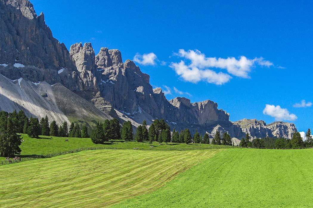 reise-zikaden.de, Südtirol, Südtirol: Dolomitental Villnöss – Unsere 8 schönsten Bergtouren - Glatsch Alm Erste Etappa bei unserer Bergtour zur Mittagsscharte ist die Glatsch Alm. Das Landschaftsbild dominieren die Dolomitengipfel des Geislerspitzen vor saftigen Bergwiesen. Foto: Reise-Zikaden, J. Hoffmann