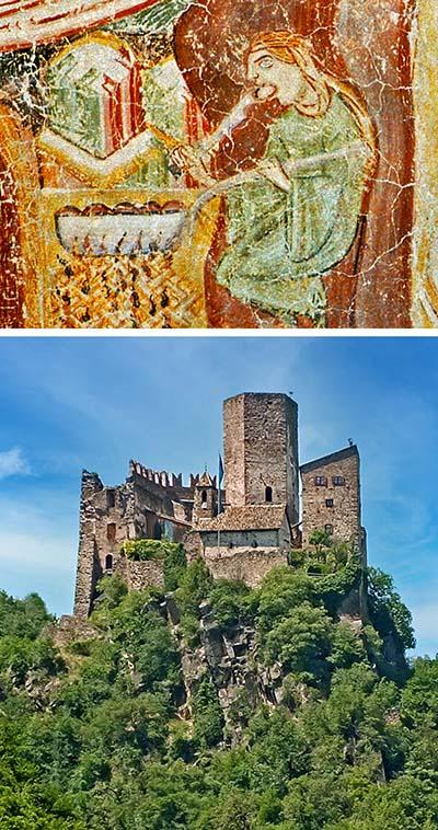 reise-zikaden.de, Südtiroler Spinatnocken mit Tomatensauce und Parmesan Das Fresko in der Kapelle von Burg Hocheppan zeigt die älteste Darstellung der Knödelzubereitung. Fotos: Wikipedia, M. Geisler