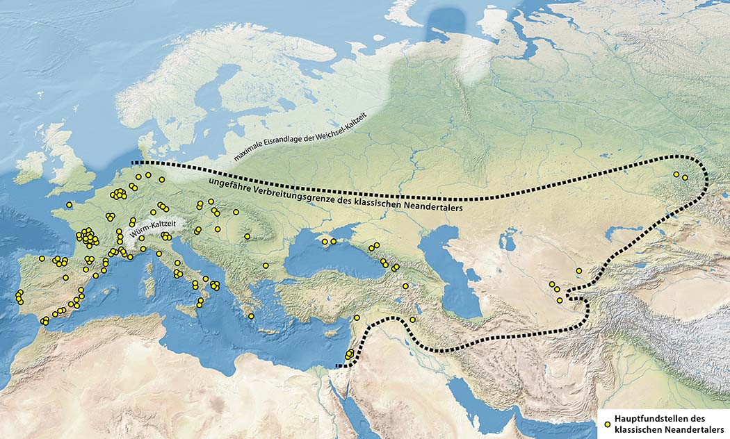Karte, Verbreitungsgebiet, klassischer Neandertaler, Fossilfundorte_ol Die Karte zeigt das Verbreitungsgebiet der klassischen Neandertaler mit Fossilfundstellen (gelbe Punkte). Grafik: Wikimedia, Maximilian Dörrbecker (Chumwa)